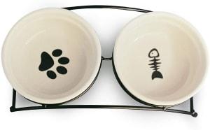 Dog Feeder Double Ceramic Bowls