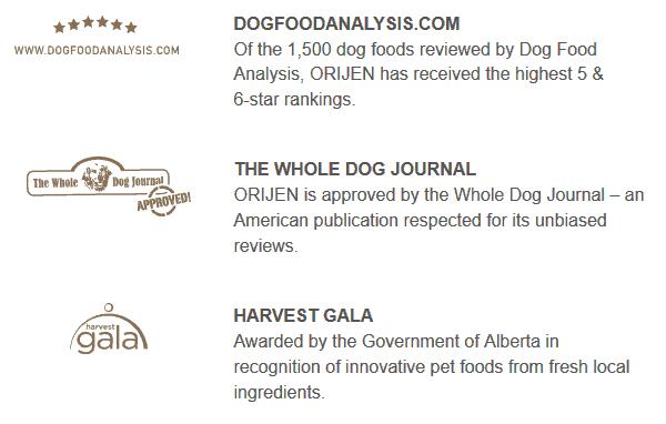 Orijen Dog Food Awards