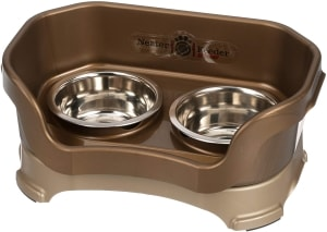 Elevated Bowls No Slip Non-Tip Double Diner Stainless Steel Food Dish with Stand